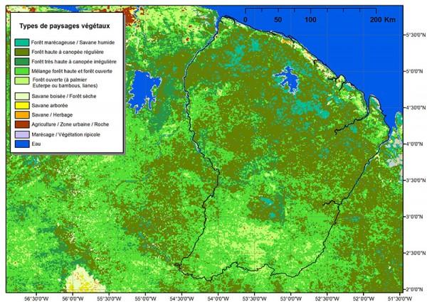 Carte de la Guyane présentant les différents types de paysages végétaux © Gond et al.
